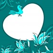 Floral background with bird sitting on heart — Vector de stock