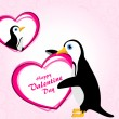 Valentine background with penguin holding heart — Stock Vector