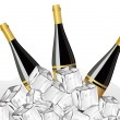Set of three champagne bottle,ice cube for new year  — Векторная иллюстрация