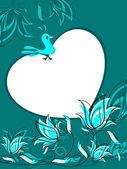 Fundo floral com pássaro sentado no coração — Vetorial Stock