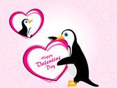 Valentijn achtergrond met pinguïn houden hart — Stockvector
