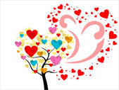Vector colorful heart tree — Stock Vector