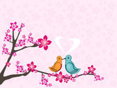 Love birds sitting on tree branch with bloom background — Stock Vector