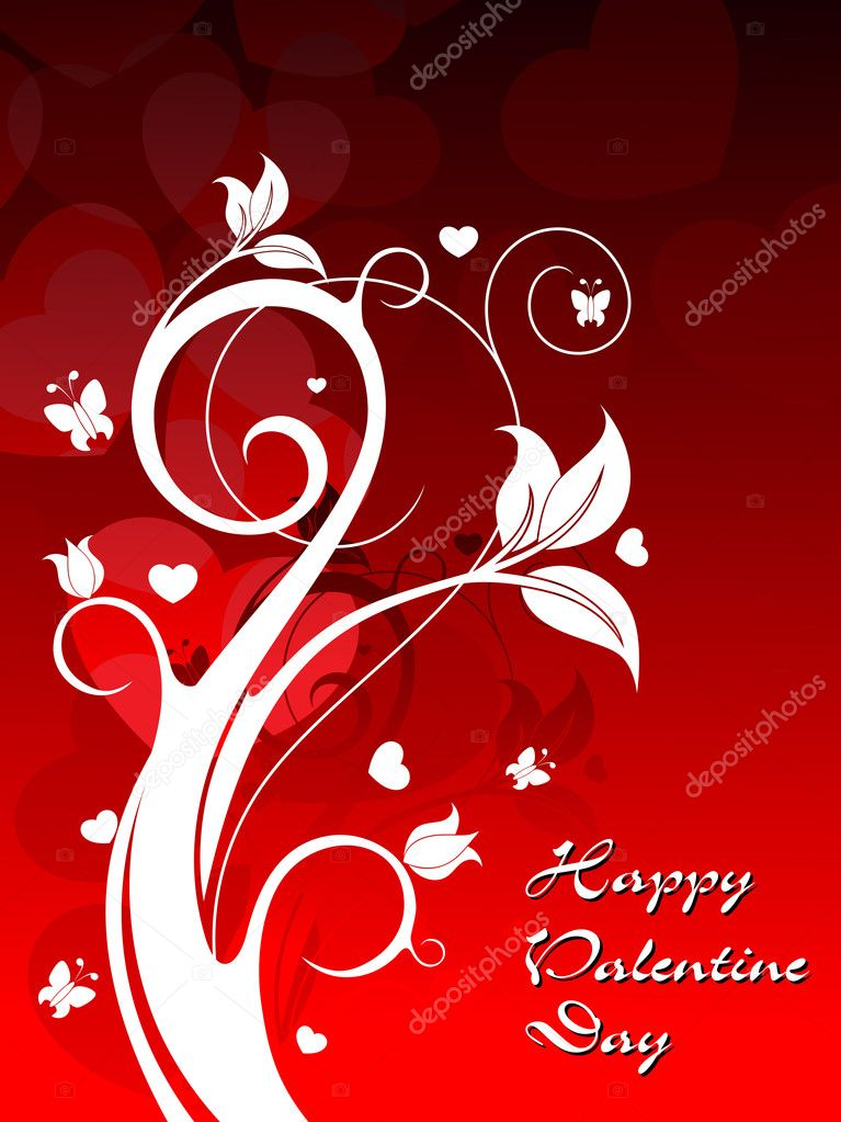 Creative floral design on red heart shape background vector for valentine day  Stock Vector #7282387