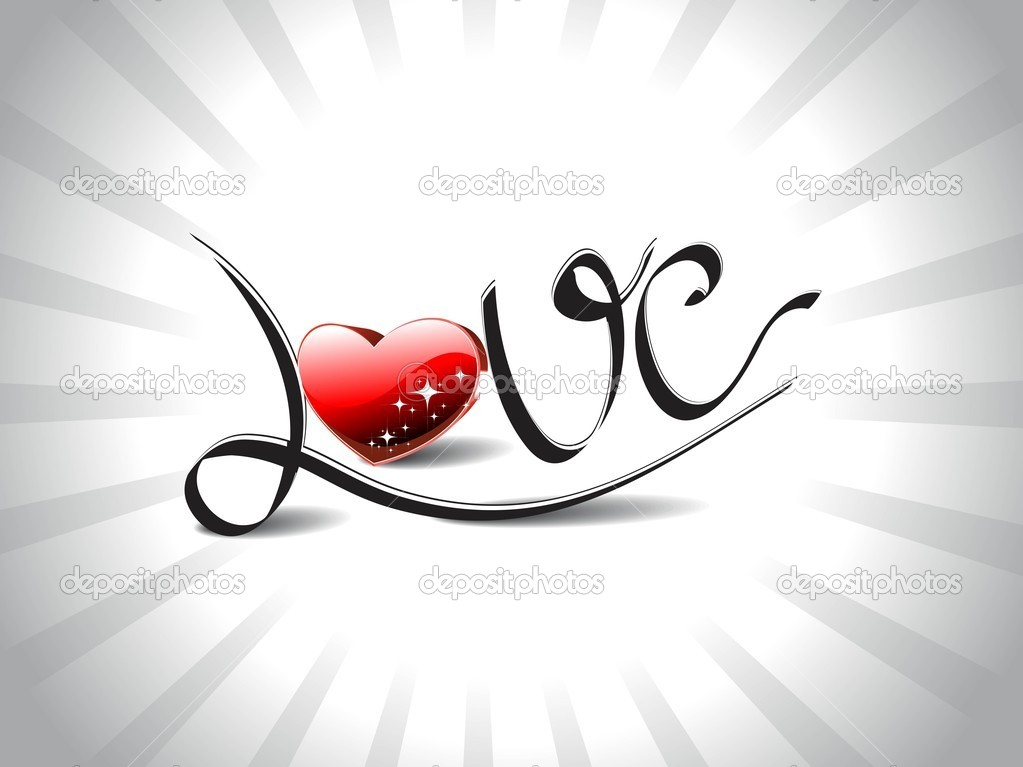 Grey rays background with atrtistic love text with shiny red heart — Stock Vector #7282496