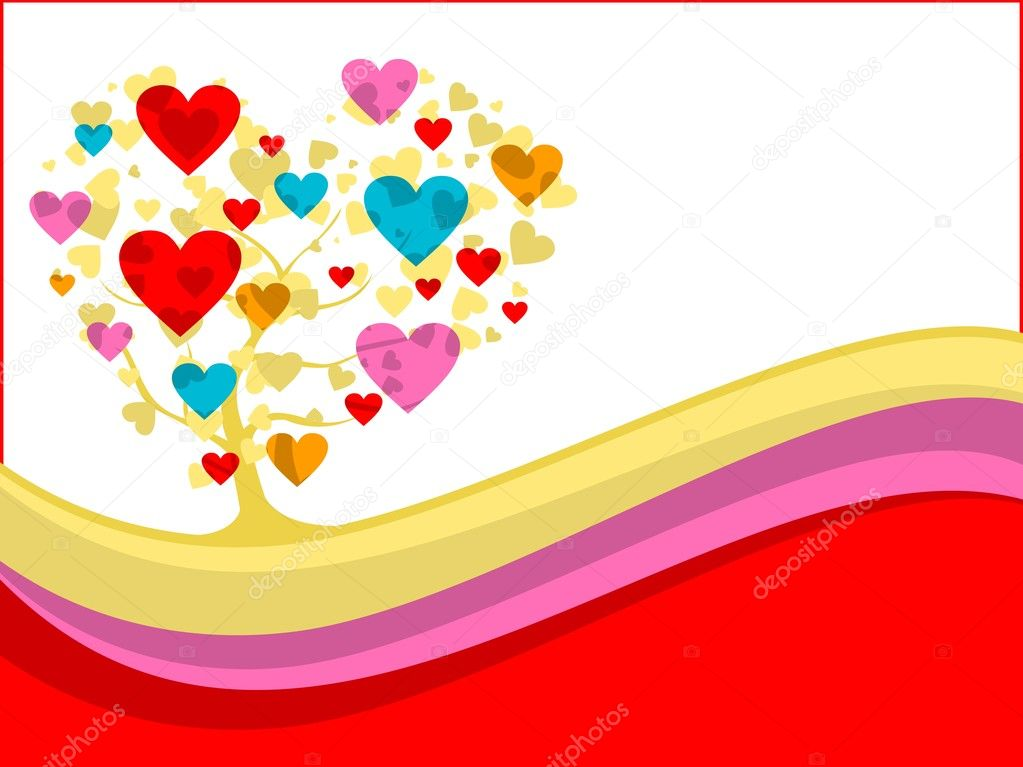 Abstract wave background with colorful heart tree, vector love theme — Stock Vector #7282636