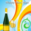 Colorful background with champange bottle, glass - Imagen vectorial