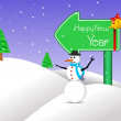 Island background with snow man — Vector de stock #7299537