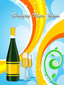 Colorful background with champange bottle, glass — Stock Vector