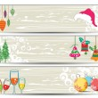 Set of headers for autmn and christmas — Stock Vector