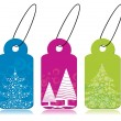 Set of christmas theme concept tags in blue, pink & green color - Stok Vektör