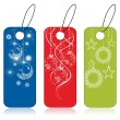 Set of decorative tags presention in blue, red & green color for - Stok Vektör