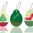 Set of christmas theme concept tags in pink & green color for ch - Stok Vektör