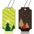Set of christmas theme concept tags for in brown & green color c - Stok Vektör