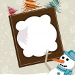 Abstract photoframe with snow man for christmas - Stok Vektör