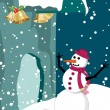 Vector christmas illustration card with winter background — Stock Vector #7615884