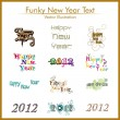 Typographic set of twelve  funky styles text for happy new year. - Stock Vector
