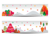 A set of two beautiful, colorful banners & headers for Christmas — Stock Vector