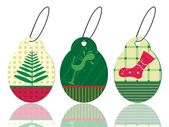 Set of christmas theme concept tags in pink & green color for ch — Stock Vector
