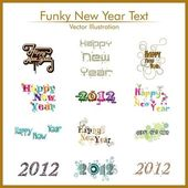Typographic set of twelve funky styles text for happy new year. — Stock Vector