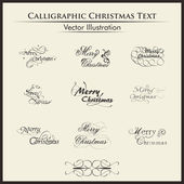 Typographic set of nine styles text for merry chirstmas. — Stock Vector