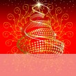 Stock Vector: A Beautiful Christmas Card With Shiny Christmas tree on Red back