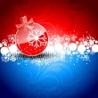 Red Christmas Balls on red &  blue background. - Image vectorielle