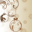 Vector Christmas ball and  floral decorative abstraction backgro - 图库矢量图片
