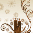 Vector Christmas Candle and  floral decorative abstraction backg - 图库矢量图片
