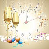 Bardak şampanya, balonlar, ile bir saat w üzerinde arka planda — Stok Vektör