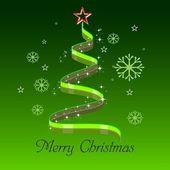 在绿色背景中抽象的绿色光芒星圣诞树. — 图库矢量图片