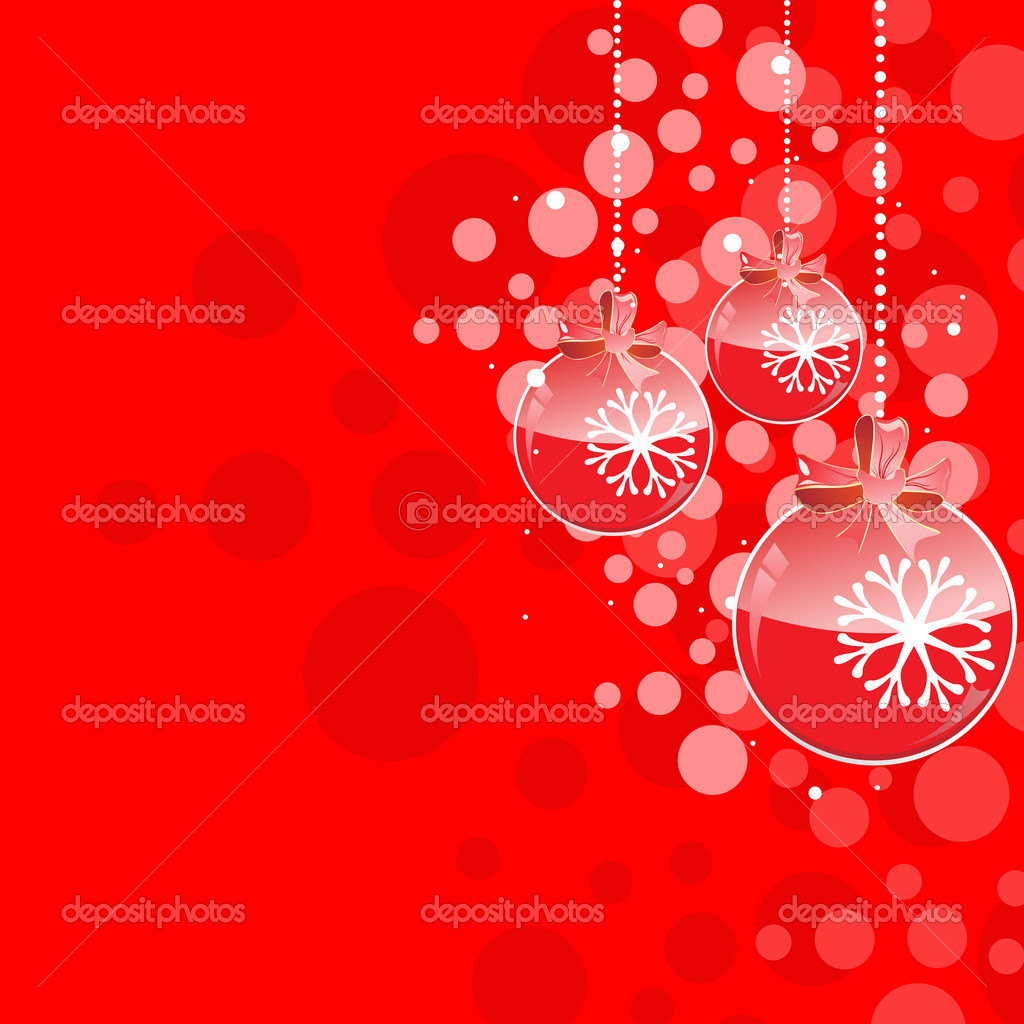 Hanging creative Christmas balls in red color for Christmas & other occasions. — Stock Vector #7658385