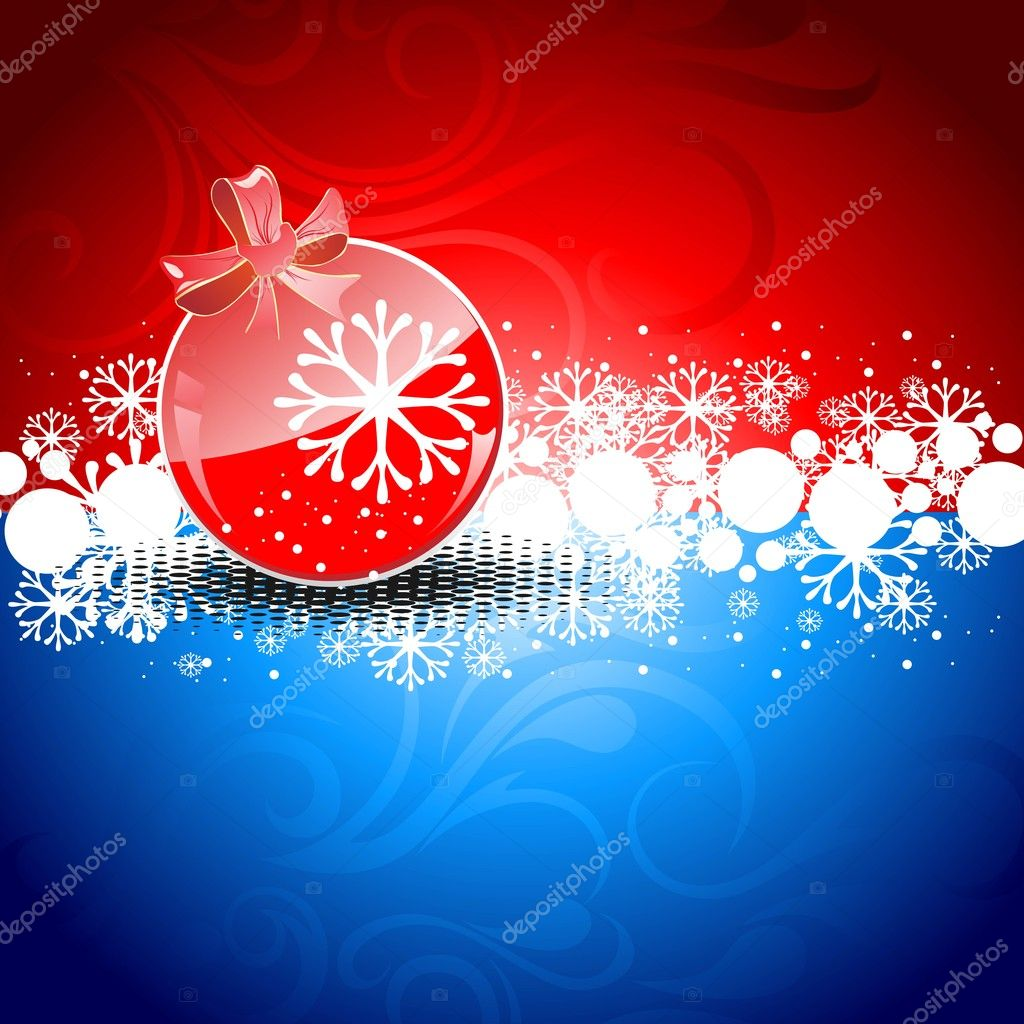 A red color decorative Christmas ball on red & blue color background for Christmas & other occasions. — Stock Vector #7658389