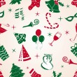Royalty-Free Stock Vector Image: Seamless patterns with jingle bells, candy canes, tree, caps, wi