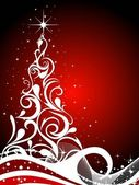A beautiful abstract white christmas tree with red background — Stock Vector