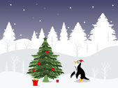 Penguin wearing Santa cap greeting card for Christmas & other occasion — Stock Vector