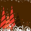 Creative Christmas tree with stars & florals on brown background — Stockvector