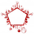 Abstract red grunge Christmas pentagon shape stamp with small elements — Stock Vector