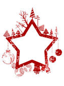 Abstract red grunge Christmas star shape stamp with small elements — Stock Vector