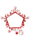 Abstract red grunge Christmas pentagon shape stamp with small elements — Stockvector