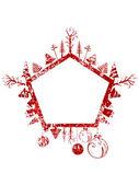 Abstracte rode grunge kerstmis pentagon vorm stempel met kleine elementen — Stockvector