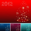 Artistic & creative Christmas tree with 2012 text for Christmas - Векторная иллюстрация