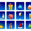 Set of elements on blue color circle background for Christmas & — Stock Vector