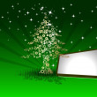 Creative Christmas tree on green rays background with blank text - Stock vektor