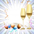 Two wine glass on colorful rays background for party & other occ - Stok Vektör