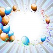 Balloons & ribbons on colorful rays background for party & other - Stok Vektör