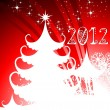 2012 Happy New Year greeting card with Christmas tree in red bac — Imagen vectorial
