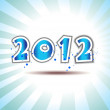 Happy new year 2012 message applique vector design with blue pr — Stock Vector #7816532