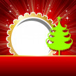 Beutiful  card with green Xmas tree & golden color frame in red — Stock Vector