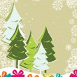 Xmas trees with Gift boxes on floral decorative background for C - 图库矢量图片